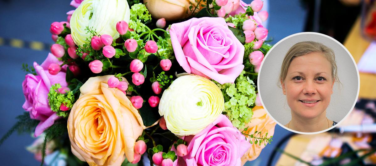 Bild på blommor och floristlärare Lina Pettersson